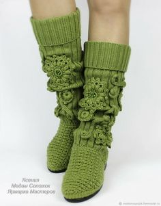 Crochet Boot Socks, Make Your Own Shoes, Knit Shoes, Handmade Handbags, Leg Warmers, Girly Things, Fashion Forward, Footwear, Sewing