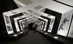 Exhibition Photography on Fabric Drapes - Eyes of the World, Robert Palace, Barcelona, Catalonia, Spain