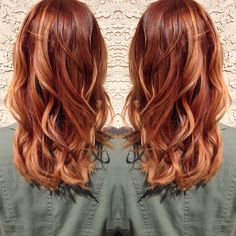 Medium copper blonde hair.