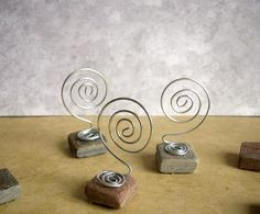 Mini  Slate and Wire Place Card  or Table Number Holder in earth tones by Baggavond, $2.50 USD