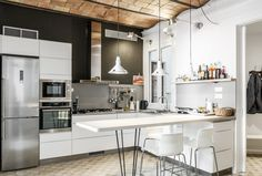 Bright kitchen mixes modern appliances with the original vaulted brick ceiling in this remodeled Barcelona apartment. [3450 × 2336] - Interior Design Ideas, Interior Decor and Designs, Home Design Inspiration, Room Design Ideas, Interior Decorating, Furniture And Accessories