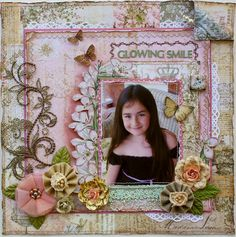 Scrapbook layout made by Guest Designer Gabrielle Pollacco for Scrap That Kit club's May 2012 kit (Prima papers and embellishments)