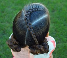 Yey for Friday! I did a Dutch braid into messy buns for B. Love cute and fast styles, perfect for the busy school mornings. Virtual Hairstyles, Easy Hairstyles For Kids, Kids Braided Hairstyles, Little Girl Hairstyles, Toddler Hairstyles, Kids Hairstyle, School Hairstyles, Short Hairstyle, Hairstyle Ideas