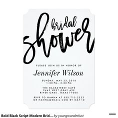 Bold Black Script Stylish & Modern Bridal Shower Invitations. For the sophisticated bride to be.