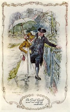 Mansfield Park - Dr. Grant himself came out with an umbrella-- by Jane Austen,  illustration by C E Brock