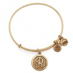 Alex and Ani, R Initial, color: Rafaelian Gold Finish