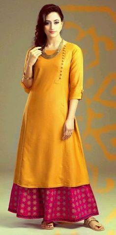 Buy Unstitched Salwar Kameez - Yellow Plain Tapeta Dress Mateirial Online for 1099 Rs. Plain Kurti Designs, Silk Kurti Designs, The Dress, Dress Skirt, Baby Dress, Yellow Kurti, White Peplum Tops, Kurti Styles, Rajputi Dress