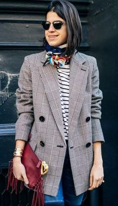 Leandra Medine's (ManRepeller) Preppy Style In a Tweed Blazer, Stripes, and a Silk Scarf // More Street Style Inspiration: (http://www.racked.com/2014/12/31/7563039/2014-fashion-trends)