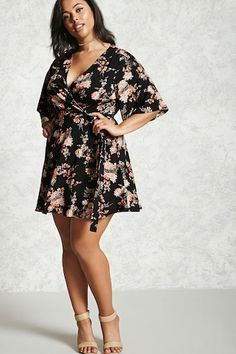 Forever 21+ - A woven mini dress featuring a floral print, wrap front, a surplice neckline, short bell sleeves, and self-ties.