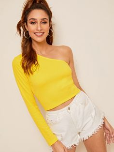 Shein Neon Yellow One-shoulder Ribbed Knit Tee Blouse Styles, Blouse Designs, Neon Yellow Tops, Color Yellow, Fashion News, Fashion Outfits, Latest T Shirt, One Shoulder Tops, Rib Knit
