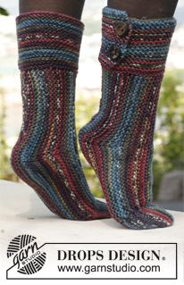 "Knitted DROPS socks in ""Big Fabel"". ~ DROPS Design"