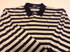Polo Ralph Lauren XXL Long Sleeve Polo Rugby Pima Cotton Blue Ivory Stripe EUC                            $32.95 free ship