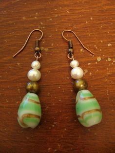 HANDMADE: Gold, Green & Pearl Drop Earrings ($12)
