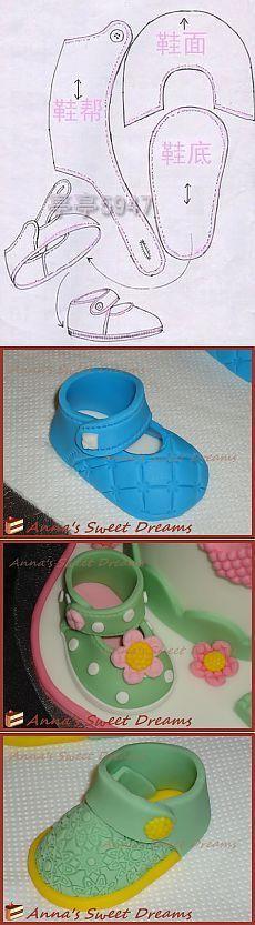 Урок 129: Детские туфельки из мастики: одна выкройка - два разных фасона