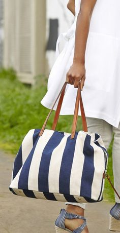 oversized navy & cream striped tote bag