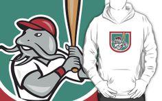 Catfish Baseball Hitter Batting Cartoon Shield by patrimonio