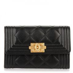 889d09862982 CHANEL Lambskin Quilted Boy Card Holder Wallet Black 160887 Quilted Leather