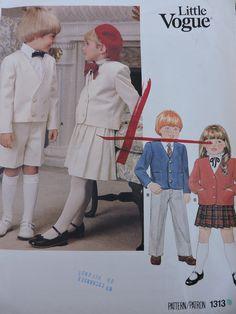 Children's Jacket Skirt Pants and Shorts Boys & Girls Vogue Fashion Designer Sewing Little Vogue 1313 Uncut Pattern Size 3 to - -