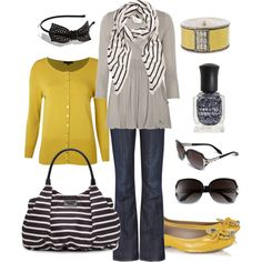 Grey with yellow to brighten up a rainy day!  yellow!, created by htotheb.polyvore.com