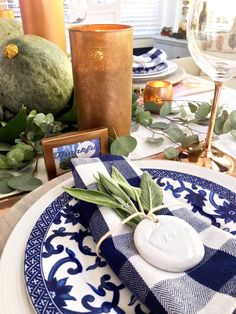 Thanksgiving Tablescape with Copper and Blue