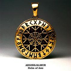 Image of AEGISHJALMUR : HELM OF AWE FUTHARK RUNES, Protect and Safe Amulet