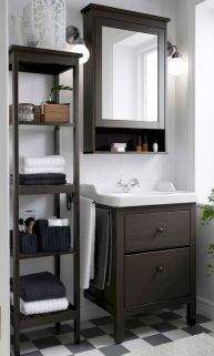 Bathroom Storage Make the most out of small bathroom spaces like using the HEMNES sink cabinet, shelf and mirror cabinet to stay organized in style. Bad Inspiration, Bathroom Inspiration, Bathroom Ideas, Budget Bathroom, Bathroom Designs, Bathroom Remodeling, Modern Bathroom, Brown Bathroom, Dark Wood Bathroom