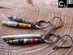 Quilled paper earrings. Copper earrings.