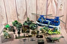 Huge Army Toys Bundle 53 Pieces Large & Small Tank Figures Guns Boats Crocs kids