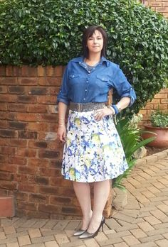 Denim shirt with floral skirt