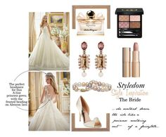 """Styledom style inspo: The bride"" by khouryolivia on Polyvore featuring Oscar de la Renta, Charlotte Tilbury, Gucci, Salvatore Ferragamo and Badgley Mischka"