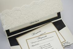 Elegant, neutral-colored invite with lace.