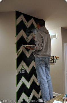 how to paint a chevron wall - I wish I could make this happen in my house. Sadly, I will probably just continue to dream about it