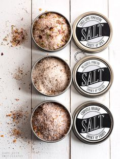 Packaging homemade gifts — Cher Amis:  Minimally Invasive has three recipes for flavored salt blends and designed free printable download labels that can be adhered to tin lids