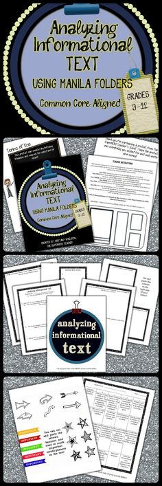 Common Core Aligned-- Have students analyze ANY informational text with this product and manila folders! Fun, engaging, AND meets all RIT standards! $