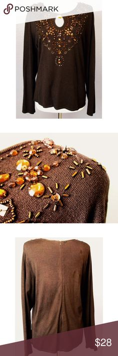 "Victor Costa Occasion Brown Jeweled Sweater 1X Brand: Victor Costa Occasion Style:  Blouse with sequins Material:  Rayon/Nylon Size:  1X Color: Brown Pattern:  Solid With Beads at neckline Measurements taken flat/approx: 22"" from underarm to underarm, 26"" from shoulder seam to bottom hem, sleeve length 25"". Condition: Good condition.  A sequin and a few small beads missing. See photos for details. Victor Costa Occasion Sweaters Crew & Scoop Necks"