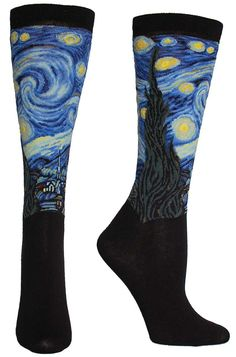 Vincent van Gogh's The Starry Night intricately sewn into a trouser length sock. | The Sock Drawer | $25