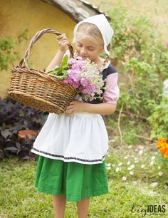 Sweet little Dutch girl costume with hat and wooden shoes so adorable. Tutorial for the hat. Love this little outfit for a Halloween Costume or Oktoberfest.