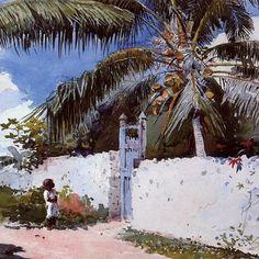 Winslow Homer, Garden in Nassau (1885). ~Repinned Via Debby KIng