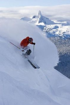 Skiing Whistler Blackcomb. We have a family picture with this view in the background. Love me some W/B skiing!!