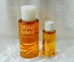 2 Vintage DESERT FLOWER by Shulton - Perfume Toilet Water , 2 oz Full, 1/2 oz Full - White Top - 1950s