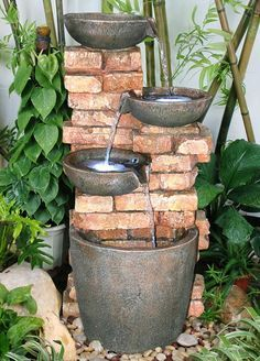 4 Bowls on Brick Wall Water Feature - GardenSite.co.uk
