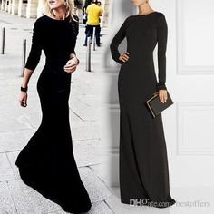 Cheap Long Sleeves Prom Dress - Discount Simple Black Evening Dress with Jewel Neck Long Online with $82.47/Piece | DHgate