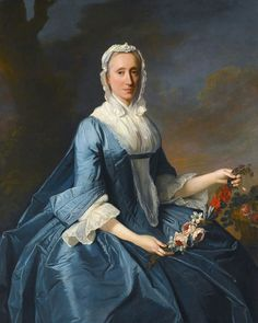 Allan Ramsay 1713 - 1784 PORTRAIT OF MISS FINCH, THREE-QUARTER LENGTH, SEATED, HOLDING A GARLAND OF FLOWERS