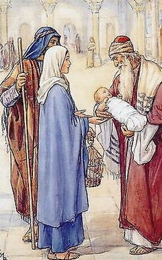 The presentation in the temple. Cicely Mary Barker, Jesus Mother, Mother Mary, Blessed Mother, Christian Images, Christian Art, Catholic Art, Religious Art, Bible Pictures