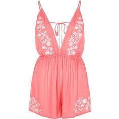 River Island Pink embroidered plunge romper (350 EGP) ❤ liked on Polyvore featuring jumpsuits, rompers, pink, holiday shop, sale, women, tie-dye rompers, tie romper, pink romper and pink camisole