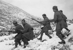 "Greek soldiers descend the hill during the war with Italy. ""...all free peoples are deeply impressed by the courage and steadfastness of the Greek nation.""    Franklin D. Roosevelt, President of the United States, Letter to King George of Greece on December 5, 1940, regarding the Greek victory in the Greco-Italian War"