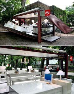 This illy Push Button house is made out of a shipping container. In 90 seconds it goes from container to operational cafe! Container Design, Container Shop, Cargo Container, Container Architecture, Container Buildings, Shipping Container Cafe, Shipping Containers, Cafe Design, House Design