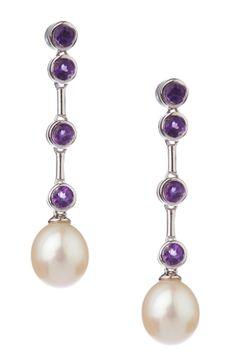 Pearl & Amethyst Drop Earrings