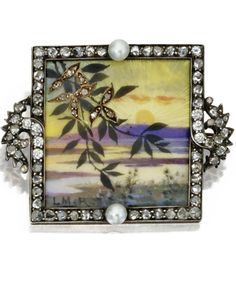 Silver, Gold, Diamond, Pearl, and Enamel Miniature Brooch Late 19th Century.
