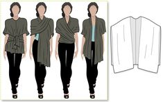 2 long rectangles and join together only halfway up. { Versatile wrap - many styles in one simple pattern}